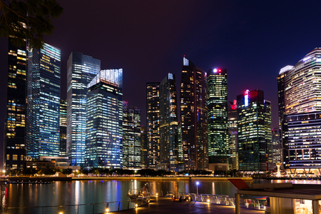 Downtown Singapore city skyline at dusk Editorial