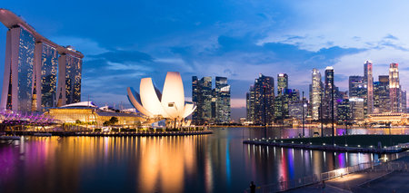 Panorama of Singapore skyline and business district at dusk