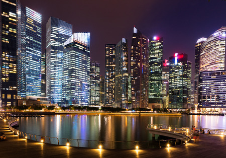 Downtown Singapore city skyline at dusk Stock Photo