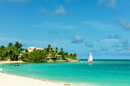 The sunny tropical Dover Beach on the island of Barbados in the Caribbean