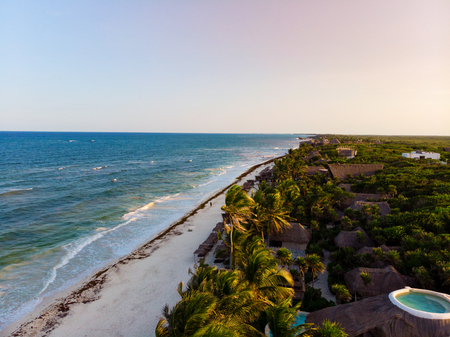 Aerial view of Tulum beach at sunset, Quintana Roo, Mexico Stock Photo