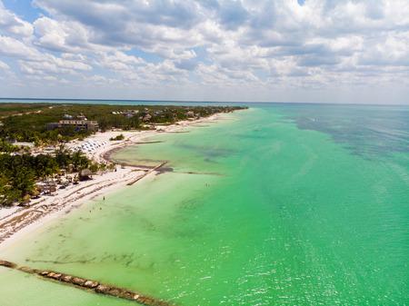 Aerial view of sunny Isla Holbox, Quintana Roo, Mexico