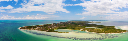 Panoramic aerial view of Punta Cocos on the island of Isla Holbox, Mexico Stock Photo