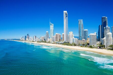Sunny view of Surfers Paradise on the Gold Coast looking from the North, QLD, Australia 写真素材