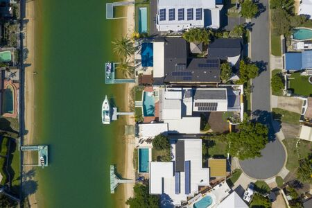 Waterfront homes on the sunny Gold Coast suburb of Broadbeach Waters, QLD, Australia 写真素材