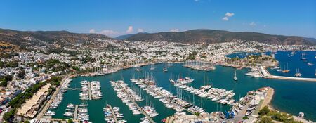 Aerial view of Bodrum Yacht Marina, Turkey