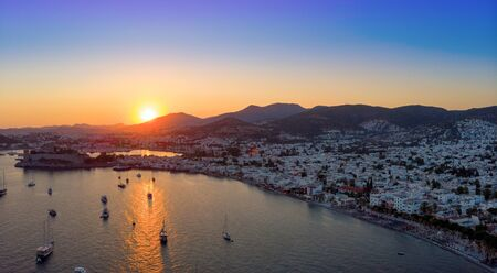 Aerial ciew of Bodrum at sunset, Turkey