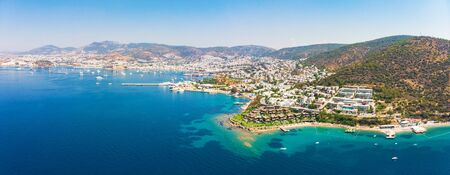Panoramic aerial view of sunny Bodrum with resorts and beachfront villas, Turkey Standard-Bild