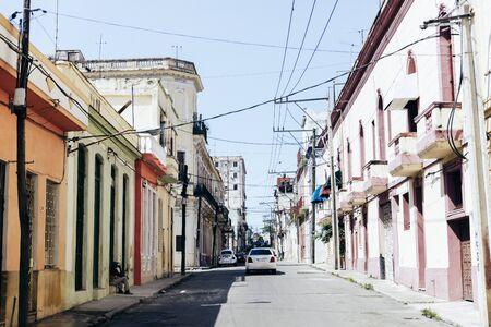 Empty street in the summer sun in Havana, Cuba