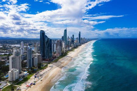 View of Surfers Paradise and Broadbeach on the Gold Coast looking from the south, Queensland, Australia