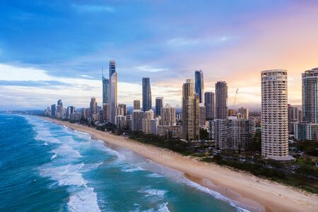 Sunset over Surfers Paradise on the Gold Coast, QLD, Australia
