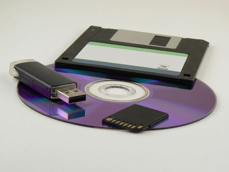 CD, diskette and flash memory card and USB drive.