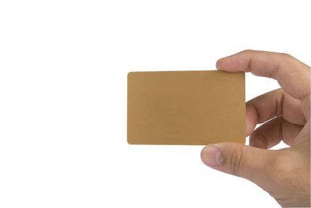 Males hand showing blank card. The cards color is golden. photo