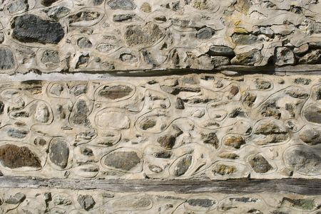 built in: Old masonry wall with built in stones. Background texture.