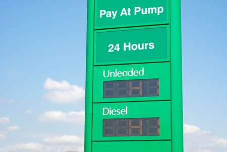 high price of oil: Price board at a gas station