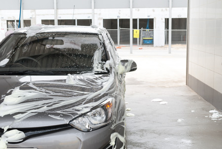 Car covered in soap at a car wash