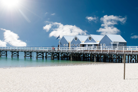 Famous wooden Busselton jetty in Western Australia on a sunny day