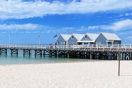busselton: Famous wooden Busselton jetty in Western Australia on a sunny day