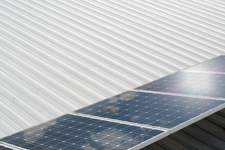 Photovoltaic system installed on a metal industrial roof