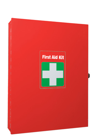 Red first aid box with white cross