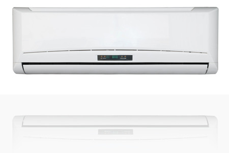 Split system air conditioner isolated on a white background with reflection Standard-Bild