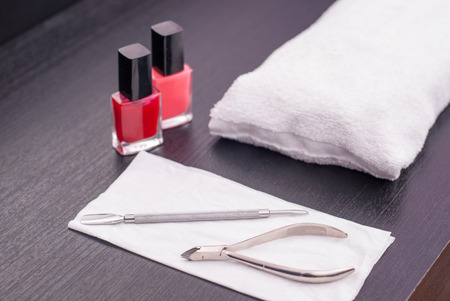 nail cutter: Nail manicure table prepared for the next client Stock Photo