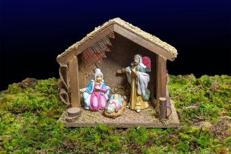 creche: Christmas Scene - Nacimiento Stock Photo