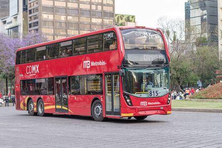 Double Decker bus - Metrobus - Reforma avenue. Mexico City