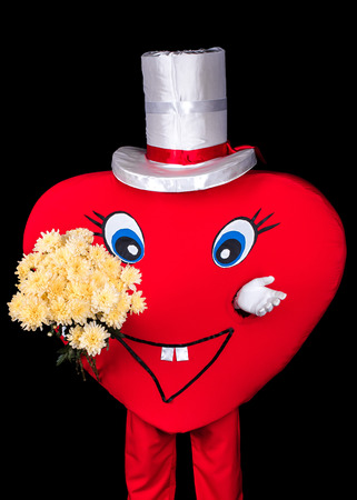courier: happy heart courier greeting with  bouquet of flowers isolated black