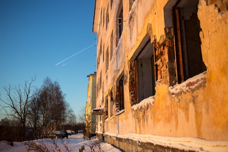 disturbed: Disturbed building in winter sun light. As in Donbass. Stock Photo