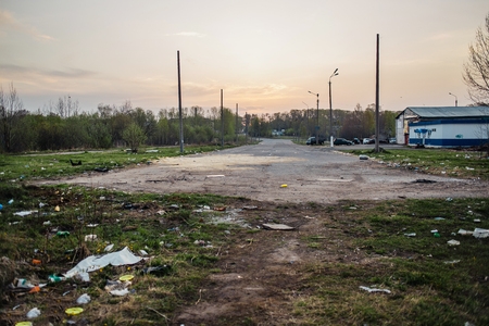 scrapheap: The street in garbage. Ecological problems in Novodvinsk, Russia