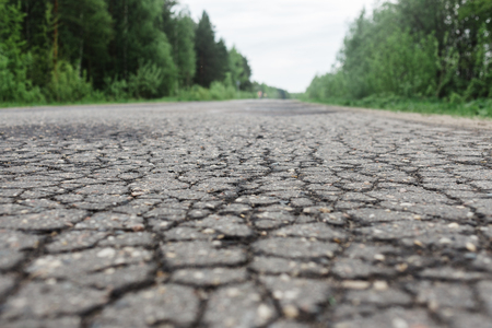 pits: Pits of water on the asphalt road in the forest.