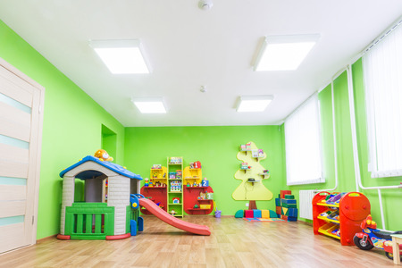 Bright Green Game Room in the Kindergarten Archivio Fotografico