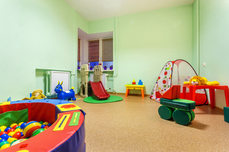 Kindergarten Interior Decoration Child Picture On Wall. Preschool ...