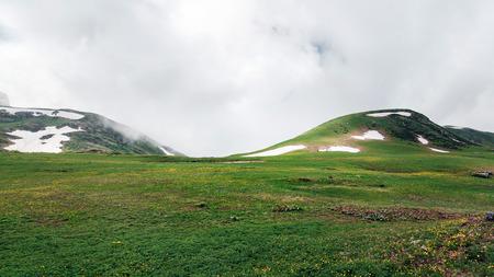 Among Caucasus Mountains. Russia, Sochi, Krasnaya Polyana, Rosa Khutor Altitude 2300m