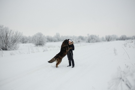 Cheerful young woman embracing with caucasian shepherd dog on snow-covered field in frosty winter day