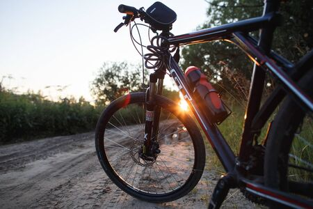 Arkhangelsk, Russia-July 17, 2019: Mountain bike GT on forest road on sunset. Illustrative editorial image Redakční