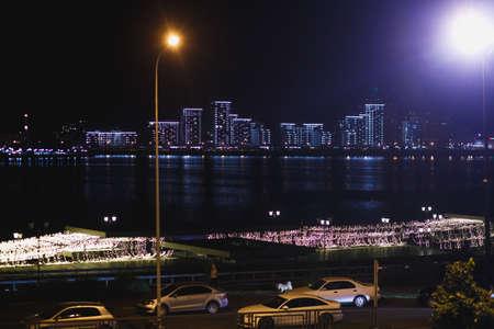 cityscape of night Kazan, Tatarstan. Touristic night city