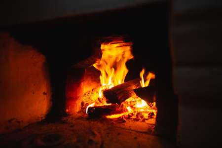 Fire hearth of russian oven in traditional village house