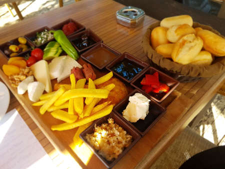 Turkish breakfast in street restaurant