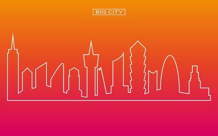 panorama city: Line shape panorama big city vector with twilight sky background