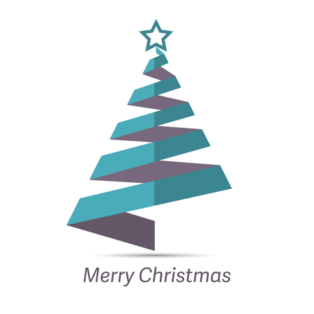 minimal: Stylized ribbon Christmas tree with Green star, Vector illustration Illustration