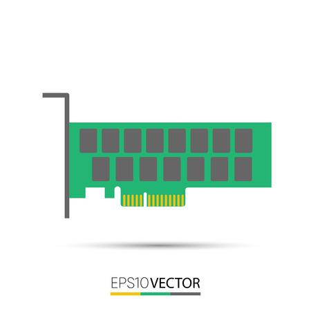 PCIe unidad de estado sólido (SSD) Ilustración de vector