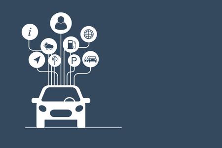 Connected car concept. Vektorové ilustrace