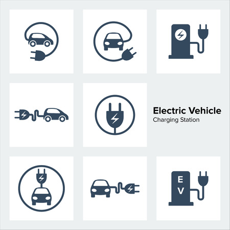 Electric vehicle charging station icons set.