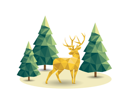 Low poly Christmas scene with reindeer and pines.  Vector illustration Illustration