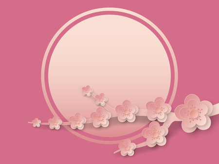Vector illustration of cherry flowers branch with copy space, vector  illustration