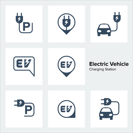 Electric Vehicle Charging Station Icons Set, Vector illustration Vektorové ilustrace