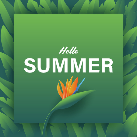 Summer vector banner design with strelitzia and leaves. Square template in paper art style. Vector illustration. Ilustrace