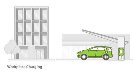 Electric car charged from the charging station in front of office building.vector illustration.Minimal Technology concept. Illusztráció